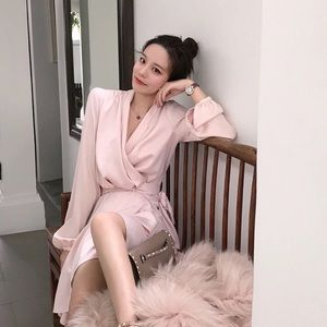 Pale Pink Long Sleeves Silk One Piece Tied Dress